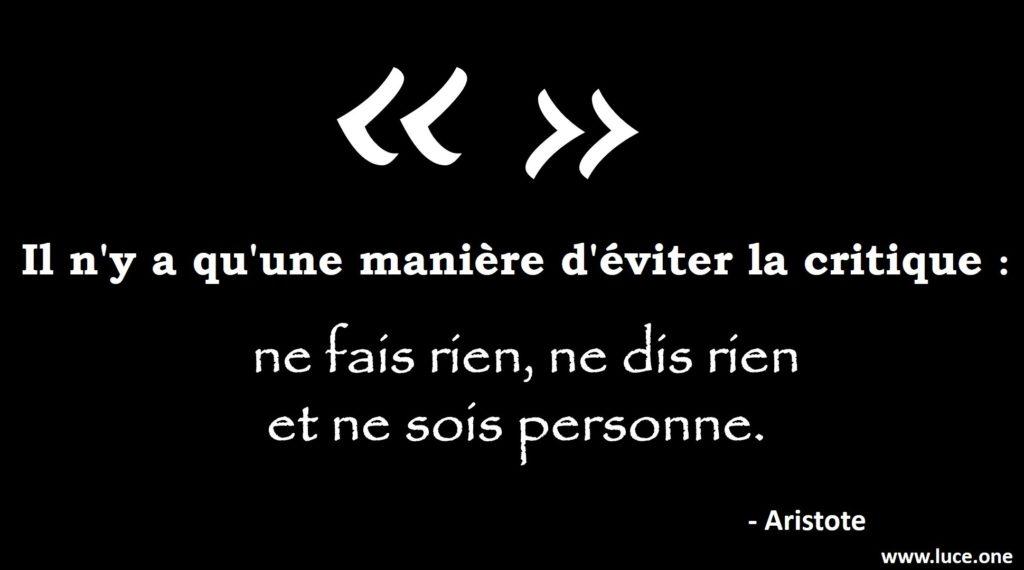 Aristote - citation la critique
