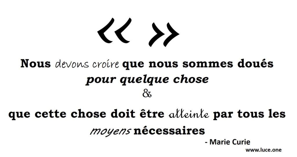 Marie Curie - citation vocation