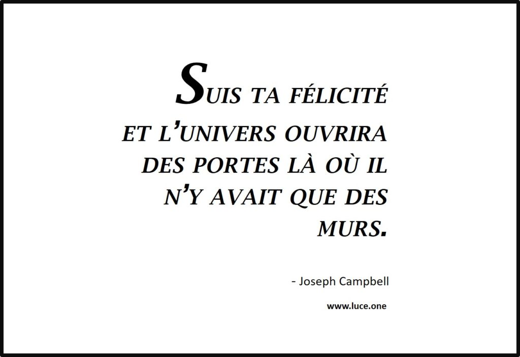 Follow your bliss - Suis ta félicité - Joseph Campbell